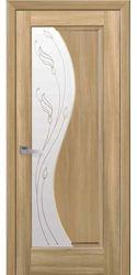 Межкомнатные двери Эскада со стеклом сатин и рисунком Р2, ПВХ DeLuxe Золотой дуб