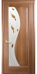 Межкомнатные двери Эскада со стеклом сатин и рисунком Р1, ПВХ DeLuxe Золотая ольха