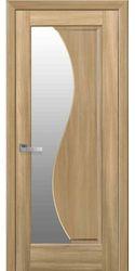 Межкомнатные двери Эскада со стеклом сатин, ПВХ DeLuxe Золотой дуб