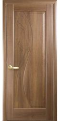 Межкомнатные двери Эскада глухое с гравировкой, ПВХ DeLuxe Золотая ольха