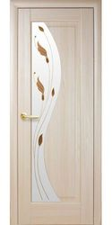 Межкомнатные двери Эскада со стеклом сатин и рисунком, ПВХ DeLuxe Ясень