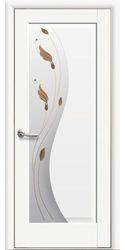 Межкомнатные двери Эскада со стеклом сатин и рисунком Р1, Premium Белый матовый