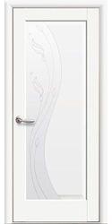 Межкомнатные двери Эскада со стеклом сатин и рисунком Р2, Premium Белый матовый
