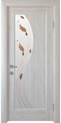 Межкомнатные двери Эскада со стеклом сатин и рисунком Р1, ПВХ DeLuxe Ясень New