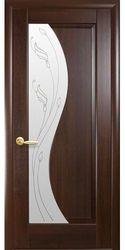Межкомнатные двери Эскада со стеклом сатин и рисунком Р2, ПВХ DeLuxe Каштан