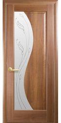 Межкомнатные двери Эскада со стеклом сатин и рисунком Р2, ПВХ DeLuxe Золотая ольха