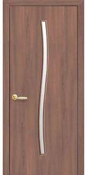 Межкомнатные двери Гармония со стеклом сатин, Экошпон  Ольха 3D