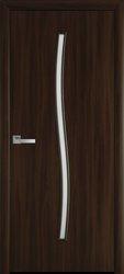 Межкомнатные двери Гармония со стеклом сатин, Экошпон  Орех 3D