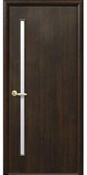 Межкомнатные двери Глория со стеклом сатин, ПВХ DeLuxe Каштан