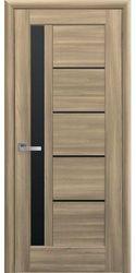 Межкомнатные двери Грета с черным стеклом, ПВХ DeLuxe Золотой дуб