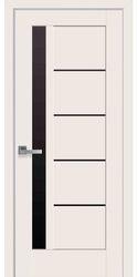 Межкомнатные двери Грета с черным стеклом, Premium Магнолия