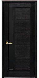 Межкомнатные двери Грета с черным стеклом, ПВХ DeLuxe Венге new