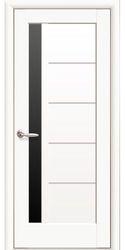 Межкомнатные двери Грета с черным стеклом, Premium Белый матовый