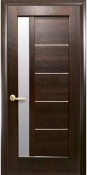 Межкомнатные двери Грета со стеклом сатин, ПВХ DeLuxe Каштан