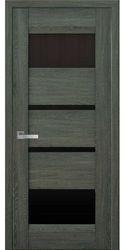 Межкомнатные двери Ибица с черным стеклом, Нано Флекс Дуб графит