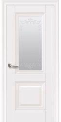 Межкомнатные двери Image без молдинга со стеклом сатин и рисунком, Premium Белый