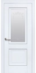 Межкомнатные двери Имидж Со стеклом сатин, молдингом и рисунком , Premium Белый матовый