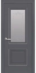 Межкомнатные двери Имидж Со стеклом сатин, молдингом и рисунком , Premium Антрацит