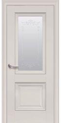 Межкомнатные двери Имидж Со стеклом сатин, молдингом и рисунком , Premium Магнолия