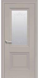 Межкомнатные двери Имидж Со стеклом сатин, молдингом и рисунком , Premium Капучино