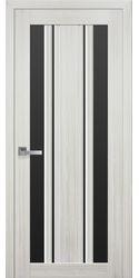 Межкомнатные двери Верона С2 с черным стеклом, Смарт жемчуг белый