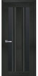 Межкомнатные двери Верона С2 с черным стеклом, Смарт жемчуг кофейный