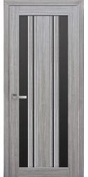 Межкомнатные двери Верона С2 с черным стеклом, Смарт жемчуг серебряный