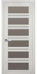 Межкомнатные двери Виченца С2 с бронзовым стеклом, Смарт жемчуг белый