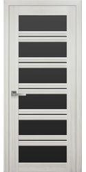 Межкомнатные двери Виченца С2 с черным стеклом, Смарт жемчуг белый