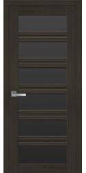 Межкомнатные двери Виченца С2 с черным стеклом, Смарт жемчуг кофейный