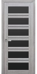 Межкомнатные двери Виченца С2 с черным стеклом, Смарт жемчуг серебряный
