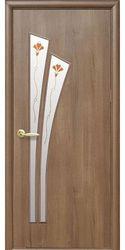 Межкомнатные двери Лилия со стеклом сатин и рисунком Р1, ПВХ DeLuxe Золотая ольха