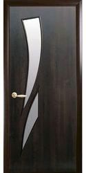 Межкомнатные двери Камея со стеклом сатин, ПВХ DeLuxe Каштан