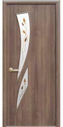 Межкомнатные двери Камея со стеклом сатин и рисунком Р1, ПВХ DeLuxe Золотая ольха
