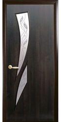 Межкомнатные двери Камея со стеклом сатин и рисунком Р2, ПВХ DeLuxe Каштан