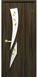 Межкомнатные двери Камея со стеклом сатин и рисунком Р1, Экошпон  Кедр
