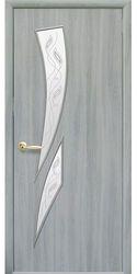 Межкомнатные двери Камея со стеклом сатин и рисунком, Экошпон  Ясень патина