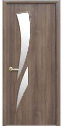 Межкомнатные двери Камея со стеклом сатин, ПВХ DeLuxe Золотая ольха