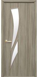 Межкомнатные двери Камея со стеклом сатин, Экошпон  Сандал