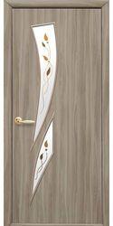 Межкомнатные двери Камея со стеклом сатин и рисунком, Экошпон  Сандал