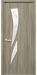 Межкомнатные двери Камея со стеклом сатин и рисунком Р2, Экошпон  Сандал