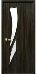 Межкомнатные двери Камея со стеклом сатин, Экошпон  Кедр
