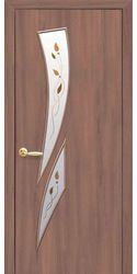 Межкомнатные двери Камея со стеклом сатин и рисунком Р1, Экошпон  Ольха 3D