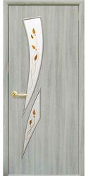 Межкомнатные двери Камея со стеклом сатин и рисунком kamea-37, ПВХ DeLuxe Ясень патина