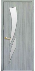 Межкомнатные двери Камея со стеклом сатин, Экошпон  Ясень патина