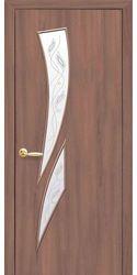 Межкомнатные двери Камея со стеклом сатин и рисунком Р2, Экошпон  Ольха 3D