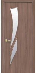 Межкомнатные двери Камея со стеклом сатин, Экошпон  Ольха 3D
