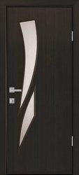Межкомнатные двери Камея со стеклом сатин и рисунком, ПВХ DeLuxe Венге New