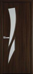 Межкомнатные двери Камея со стеклом сатин, Экошпон  Орех 3D