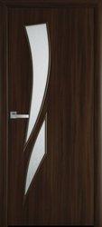 Межкомнатные двери Камея со стеклом сатин и рисунком, Экошпон  Орех 3D